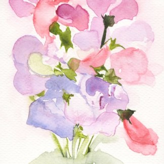 Watercolour painting. RWB0232 Sweet Scented Posy. Artist: Vandy Massey