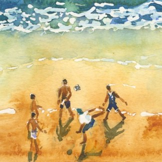 Watercolour painting. IKA006 Beach Soccer. Artist: Isabella Kramer