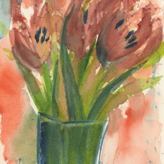 Watercolour painting. RWB0256 Glass Vase. Artist: Vandy Massey