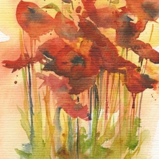 Watercolour painting. RWB0292 Wild Poppies 2. Artist: Vandy Massey
