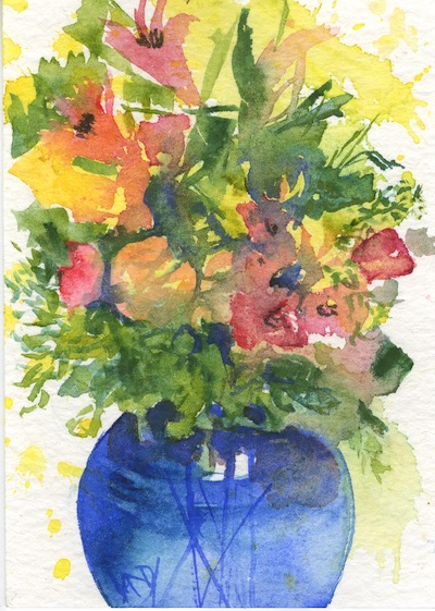 Watercolour painting. RWB0293 Lillies and Roses. Artist: Vandy Massey