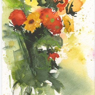Watercolour painting. RWB0294 Autumn Flowers. Artist: Vandy Massey