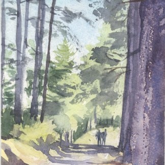 Watercolour painting. SMT002 In the Shadow of the Pines. Artist: Susanne Taylor