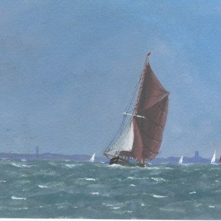 Watercolour painting. AOA004 Breezy Day off the Coast. Artist: Anthony Osler
