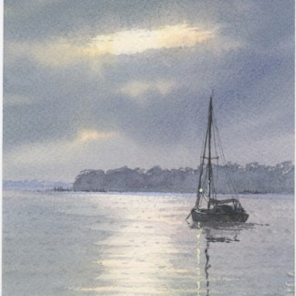 Watercolour painting. AOA005 At Anchor in Moonlight. Artist: Anthony Osler