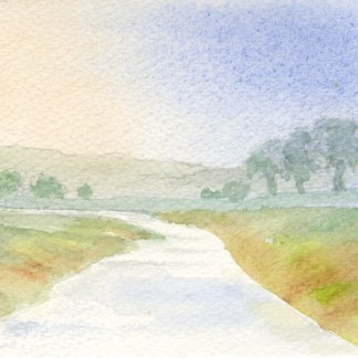 Watercolour painting. RBA001 Winding River. Artist: Rita Browne