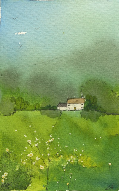 Watercolour painting. CFA002 Green Landscape 1. Artist: Caroline Furlong