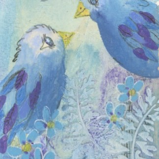 Watercolour painting. CFA012 Lovebirds. Artist: Caroline Furlong