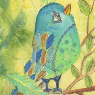 Watercolour painting. CFA013 Bluebirds. Artist: Caroline Furlong