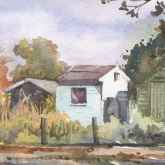 Watercolour painting. HO001 Blue Shed. Artist: Helen Otter
