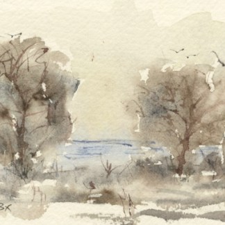 Watercolour painting. MBA010 Autumn Lake. Artist: Melanie Bettridge