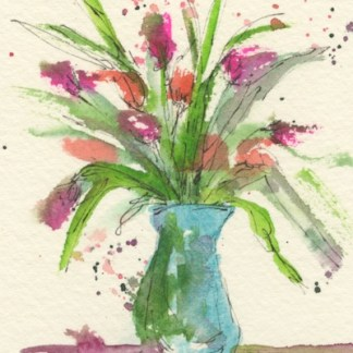 Watercolour painting. MBA015 Blue Vase. Artist: Melanie Bettridge