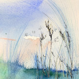 Watercolour painting. RWB0350 Swaying in the Wind. Artist: Vandy Massey
