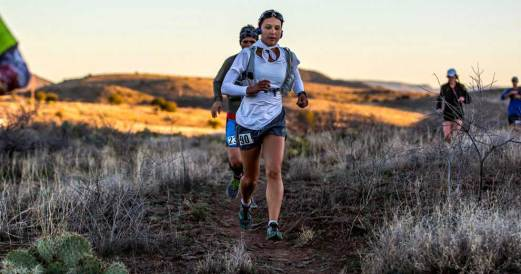 Amie running in the Black Canyon 100K (~63 mile) Ultramarathon through the mountains of the Sonoran Desert.