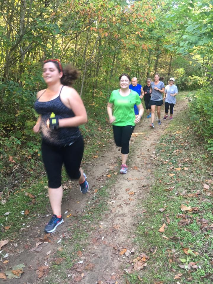 Everyone pictured on these pages started with walking ! Julia B. (front) came from another start to run program to learn trail running and keep her routine going.