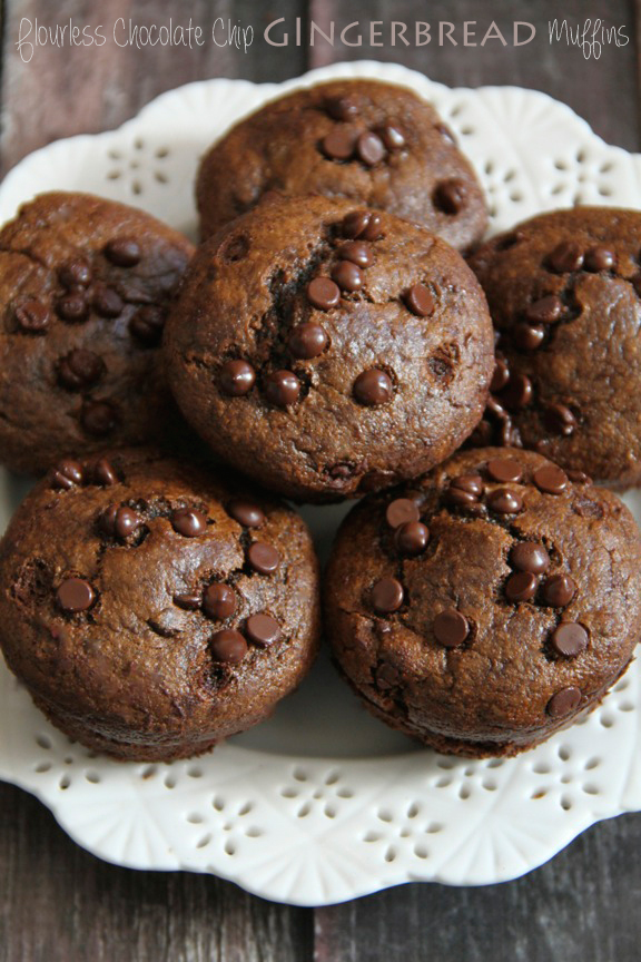 Flourless Chocolate Chip Gingerbread Muffins -- you won't miss the flour, oil, or sugar in these soft and tender muffins! || runningwithspoons.com #glutenfree #gingerbread #muffins