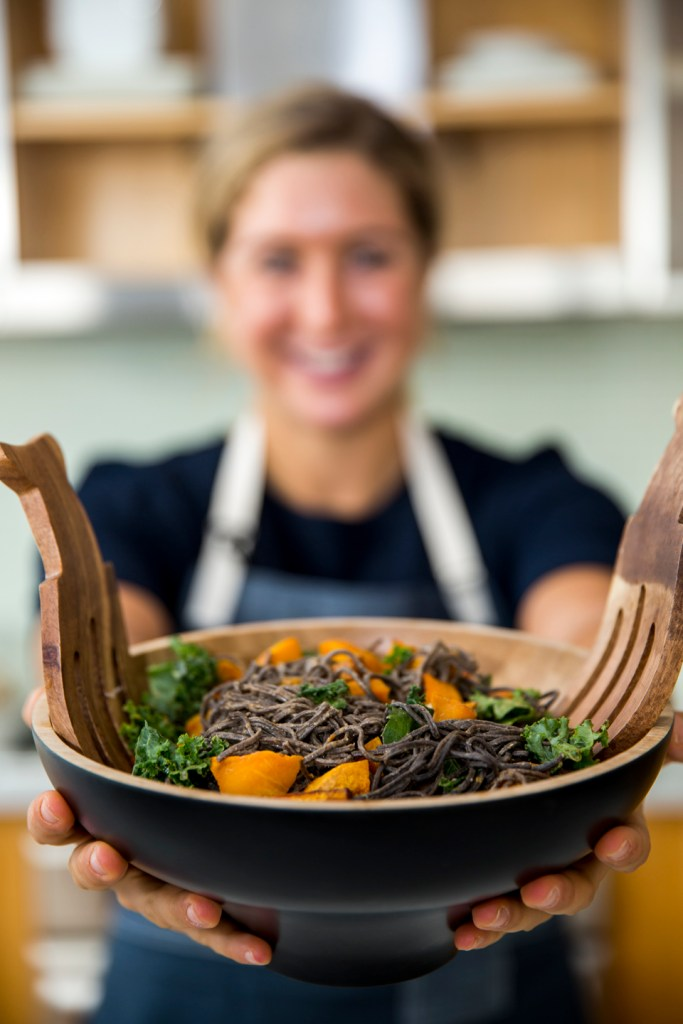 Black Bean Pasta with Roasted Butternut Squash and Almond Butter Thai Sauce