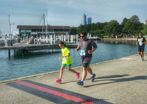 Sara and Tom finishing the 2015 Rock n Roll Chicago 5K