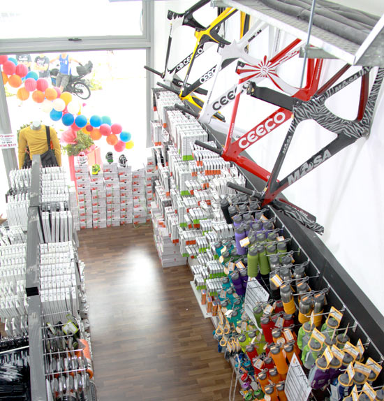 Ceepo bike frames and a variety of products line the walls