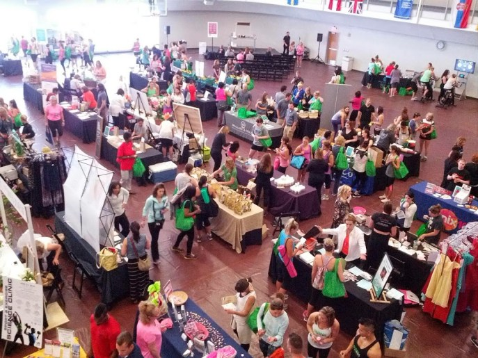 The bustling marketplace at Be Well Philly Boot Camp