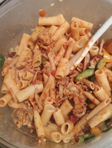 mixed pasta and veggies with ground turkey