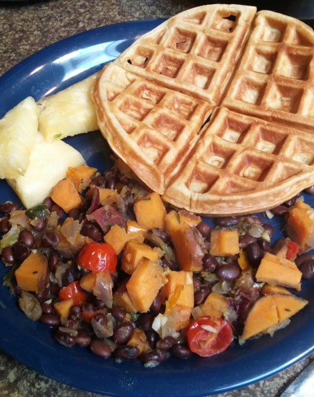 waffle, pineapples and sweet potato hash