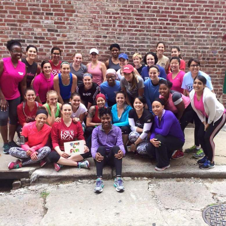 The girls together for a group run over the Ben Franklin Bridge