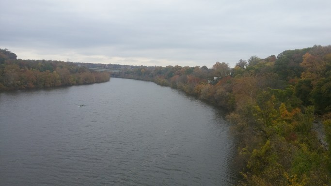 Amazing view of the Schuylkill River when running over the Strawberry Mansion Bridge