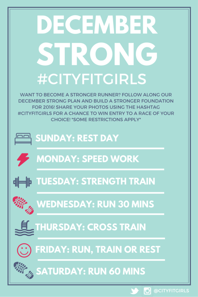 City Fit Girls is hosting the December Strong Fitness Challenge to stay in shape in the running offseason! Connect on cityfitgirls.com to find out how to win a spring race entry in 2016!