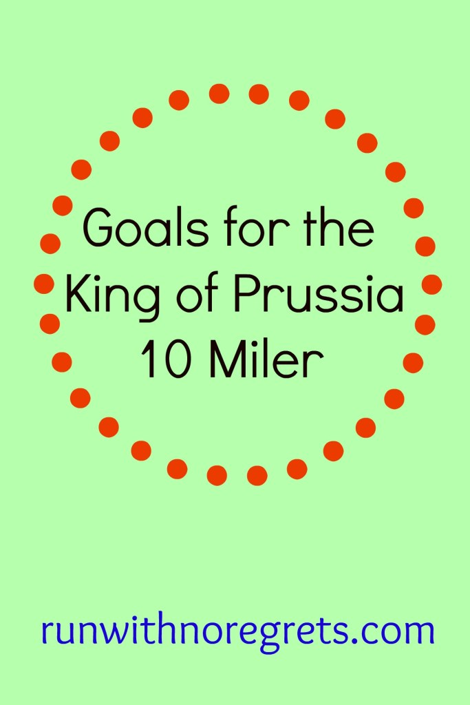 For the first time I'm running the King of Prussia 10 Mile Run! It's supposed to be a very hilly race but I'm looking forward to the challenge!