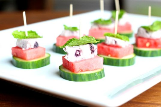 Watermelon Cucumber Blueberry Goat Cheese Bites