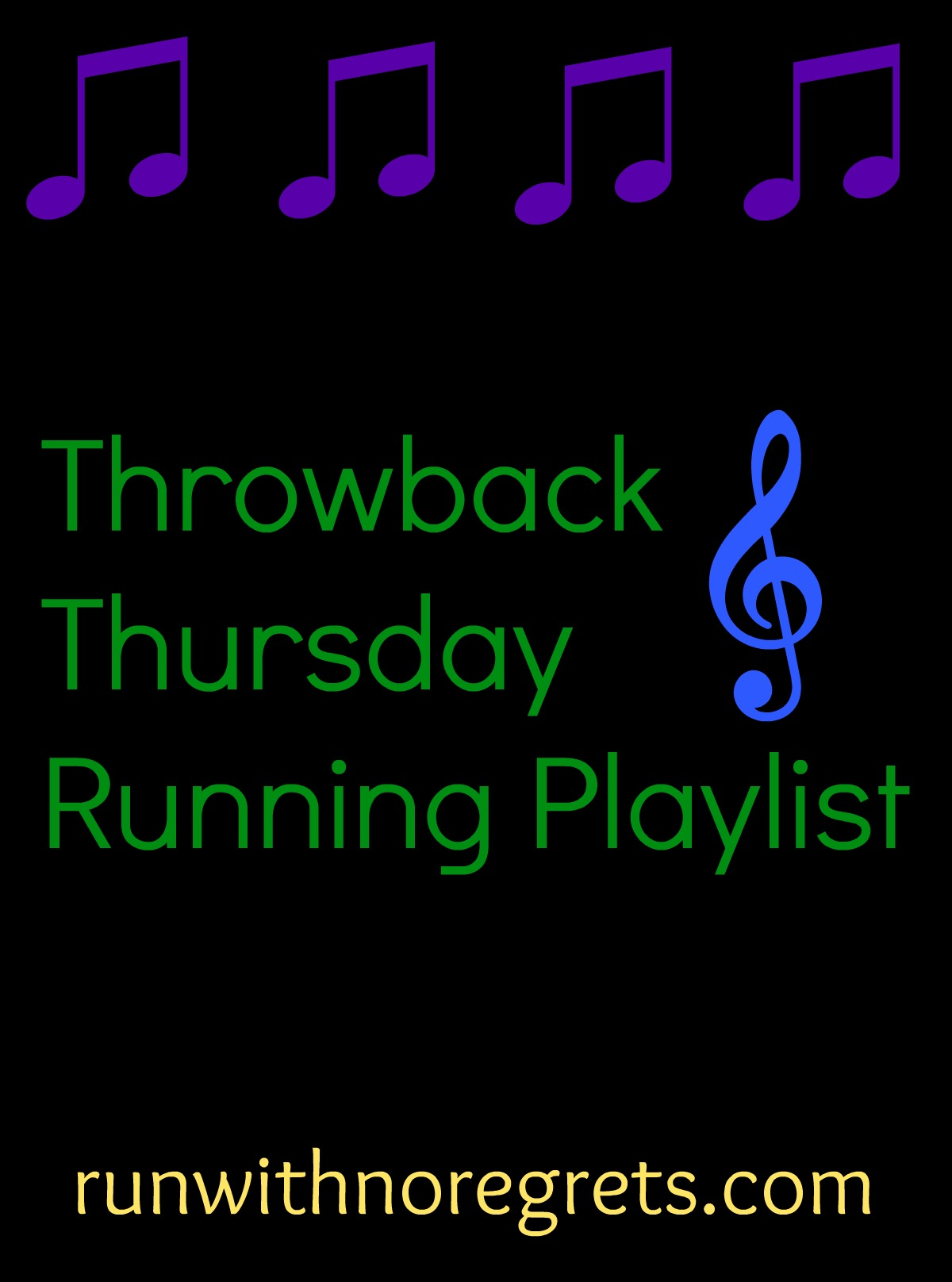 "Every month I share a ""throwback"" music playlist perfect for heading out for a run! Check it out and more running resources at runwithnoregrets.com!"