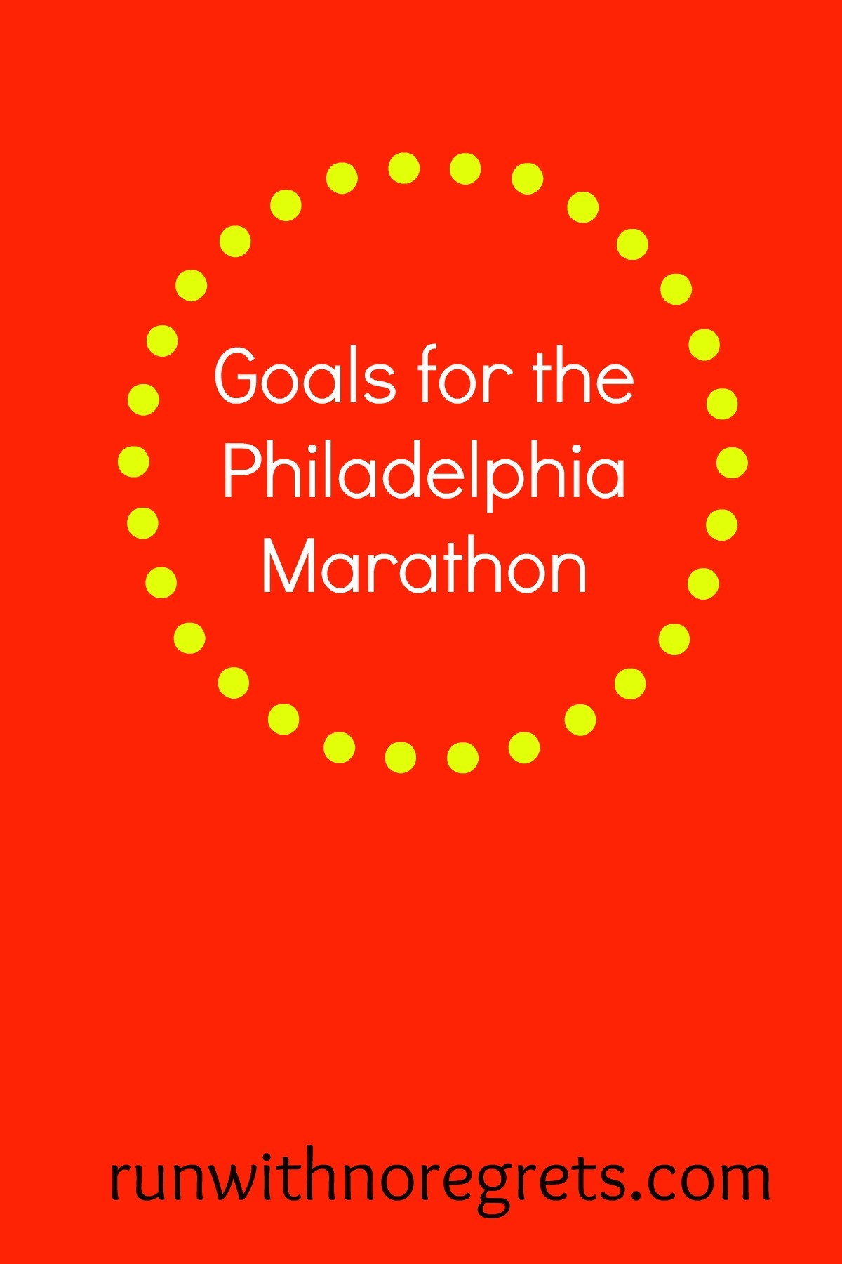 I will be running my very first marathon on November 20, 2016 - the Philly Marathon! Check out my goals for the race and more running adventures at runwithnoregrets.com!
