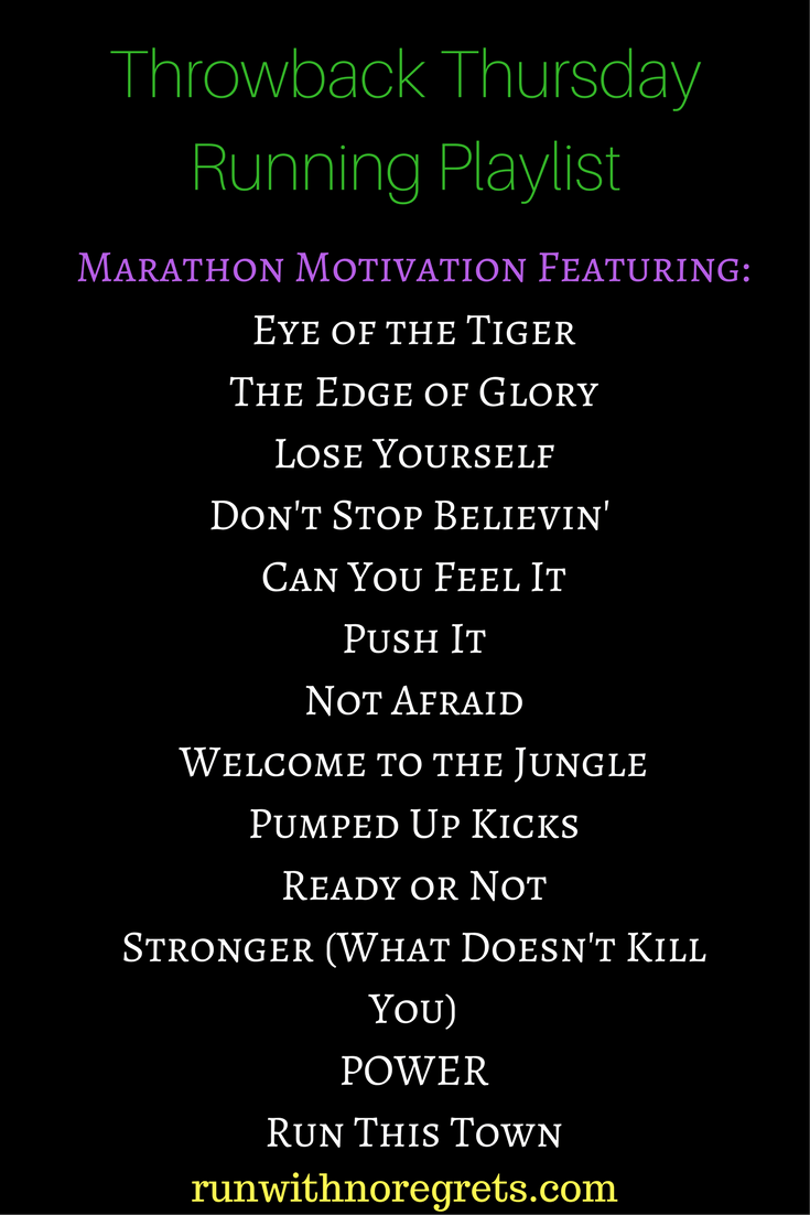 If you're training for a marathon or any race, check out my playlist of throwback songs that will motivate you during the race!  You can find more running playlists at runwithnroegrets.com!