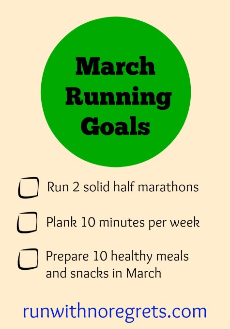 Check out my running goals for March! I share my running goals each month and running tips at runwithnoregrets.com!