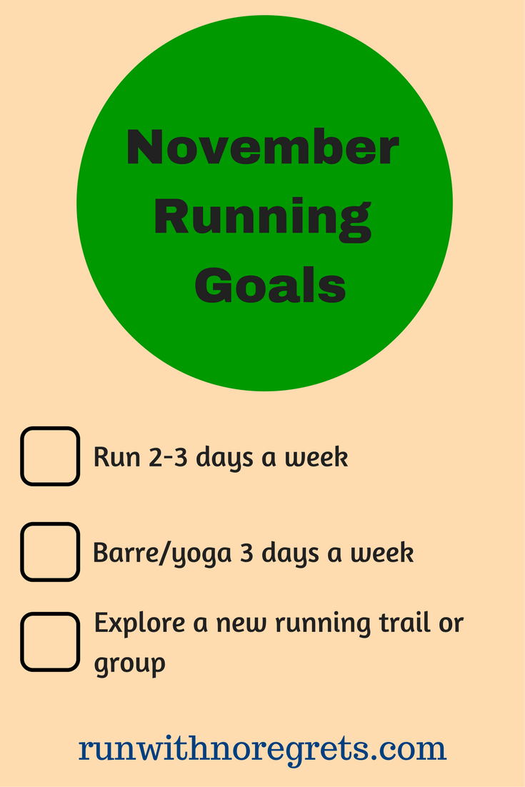 Check out my running goals for the month of November! You can find more running fun at runwithnoregrets.com!