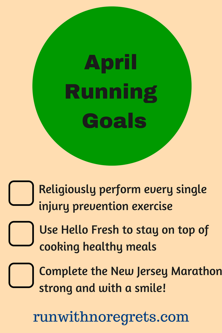 I'm sharing my running goals for April 2018! This has been a great way to stay accountable through the month! Find more running inspiration at runwithnoregrets.com!
