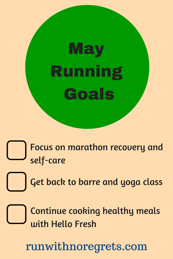 I'm sharing my running goals for May 2018! This has been a great way to stay accountable through the month! Find more running inspiration at runwithnoregrets.com!