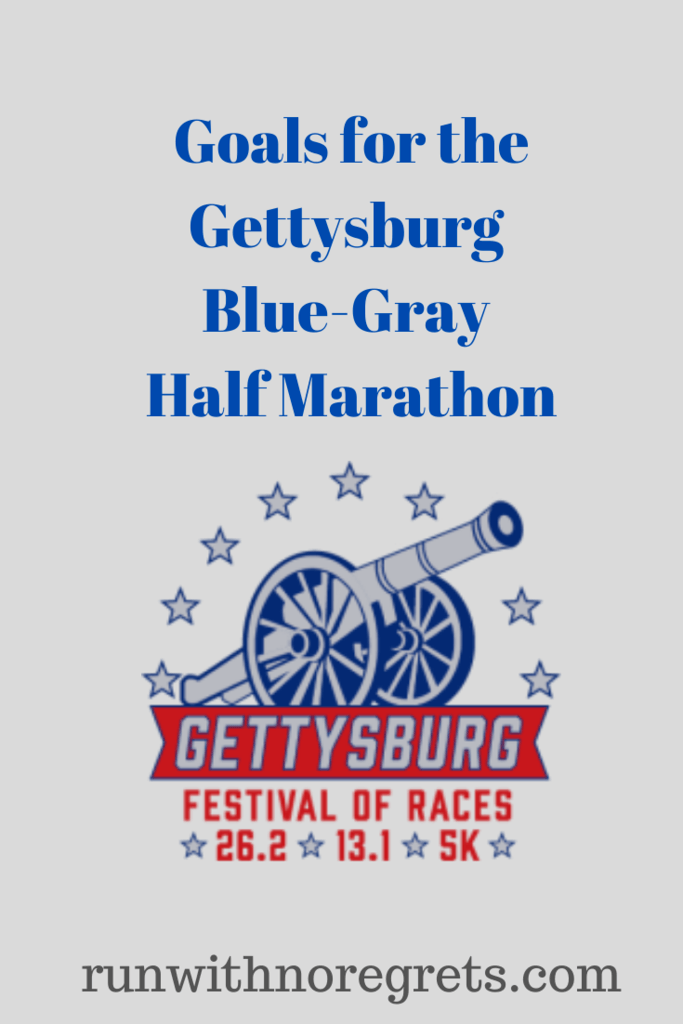 I'm sharing my goals for the Blue-Gray Half Marathon taking place in Gettysburg, PA!  Find more racing recaps at runwithnoregrets.com!