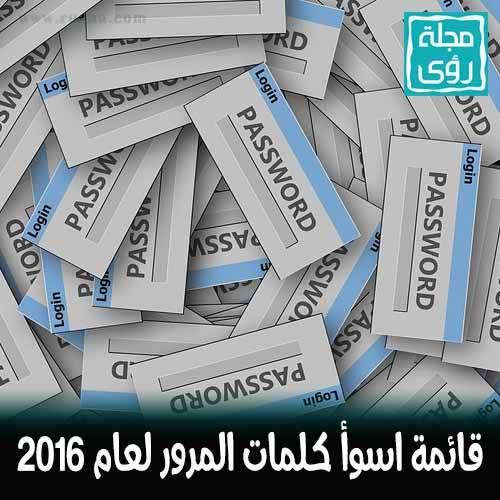 قائمة أسوأ كلمات المرور لعام 2016 1