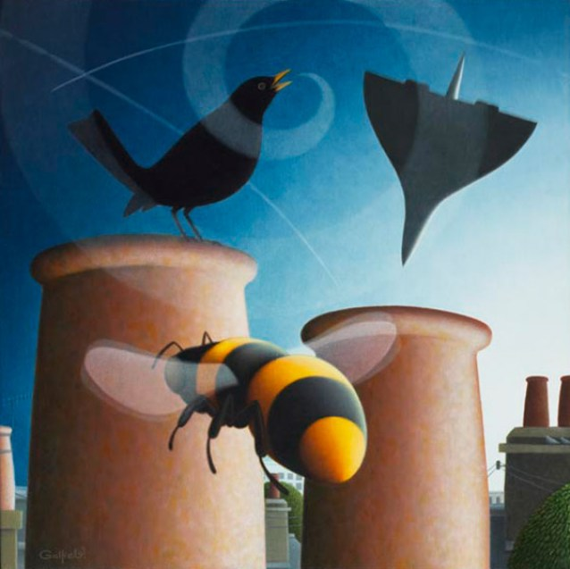 Bumble Bee and Blackbird Outsinging Benn's Baby 24 x 24 ins Oil on Linen
