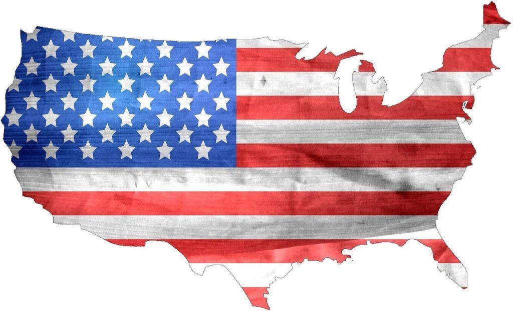 USA flag on map