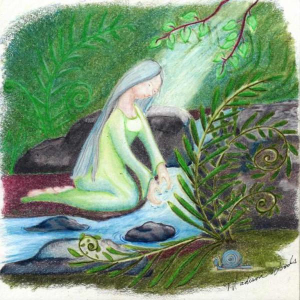 Water Priestess, by Madison Woods. Notecards and prints available.