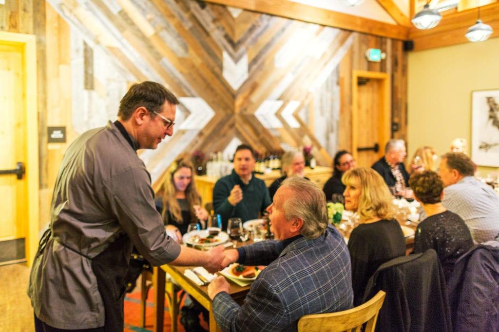 Rush Creek Chef Lemens Talking With Guests Kim Carroll