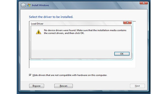 Windows 8 No device Drivers were found