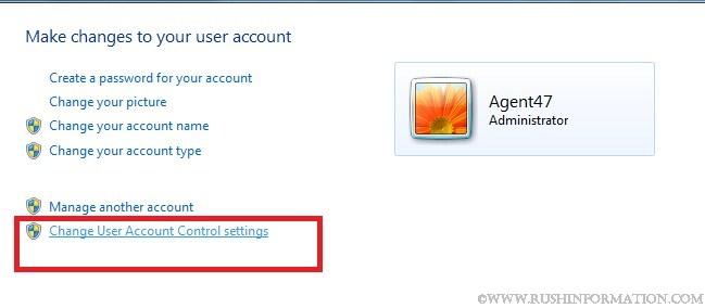 windows 7 change uac
