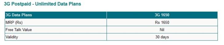 MTNL 3G Postpaid Unlimited Data Plan