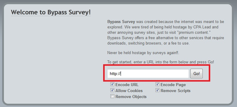 Bypass surveys online