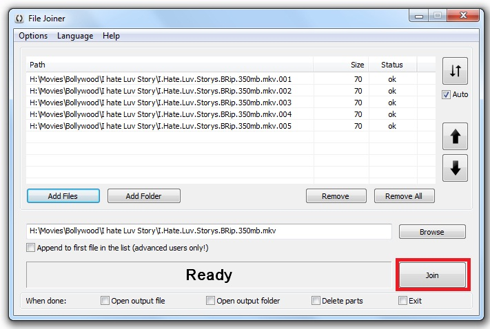 How to Merge .mkv files - File Joiner