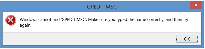 Windowscannot find gpedit.msc Error